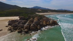Aerial view of Squeaky Beach, Australia Stock Footage