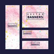 adorable pink banner template design - stock illustration