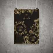 Luxurious floral poster template design Stock Illustration