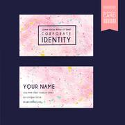Adorable pink business card template design Stock Illustration