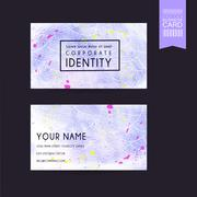 Adorable purple business card template design Stock Illustration