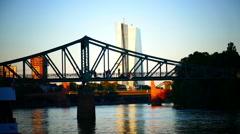 Skyline Frankfurt am Main Financial Center EZB ECB Stormy day Germany Europe Stock Footage