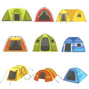 Colorful Tarpaulin Tents Set Stock Illustration