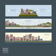 Adorable town scenery banner template Stock Illustration
