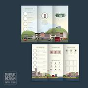 Adorable town scenery tri-fold brochure template Stock Illustration