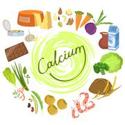 Products Rich In Calcium Infographic Illustration Stock Illustration