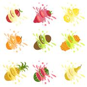 Fruits Cut In The Air Splashing The Juice - stock illustration