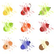 Fruits Cut Bursting With Juice Stock Illustration