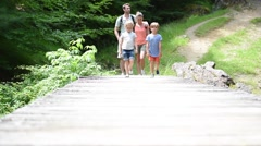 Family of four walking on a bridge crossing the river - stock footage