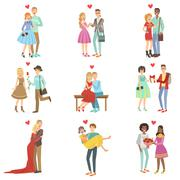 Adult Couples In Love - stock illustration