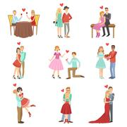 Adult Couples On A Date - stock illustration