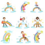 Kids Playing Music Instruments With Rainbow And Clouds Decoration - stock illustration
