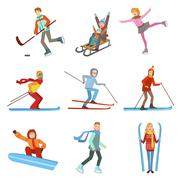 People Doing Winter Sports Illustration Set Stock Illustration