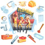 Three Plumbers At Work Surrounded By Profession Related Objects - stock illustration