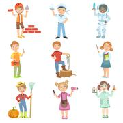 Kids And Their Dream Jobs Stock Illustration
