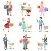 People Shopping For Clothes And Grocery - stock illustration