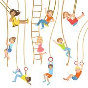 Kids On Swings And Other Rope Sports Equipment - stock illustration