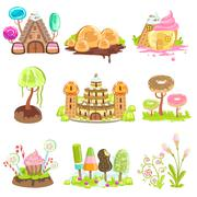 Fantasy Landscape Elements Made Of Sweets And Candy Stock Illustration