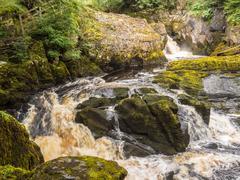 Spectacular waterfall on the Ingleton Waterfalls Trail, Ingleton, North Yorks Stock Photos