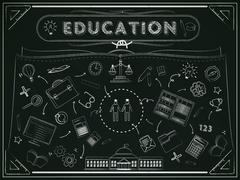education blackboard with lovely icons - stock illustration