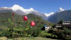 Ghandruk village in Nepal Stock Footage