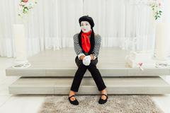 Portrait of young mime girl with black hat Stock Photos