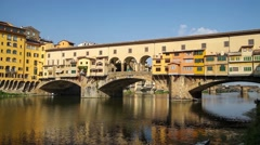 Pano of Ponte Vecchio,  the Old Bridge in Florence, Tuscany Italy - stock footage