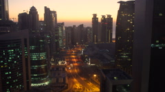 Skyline of the West Bay financial district of Doha, at sunrise, Doha Stock Footage