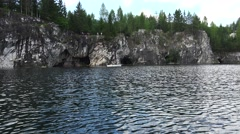 Caves and grottos Marble Canyon. Ruskeala. Karelia. 4K. Stock Footage