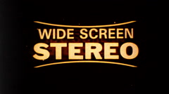 Wide Screen Stereo Feature Presentation Vintage Film Title Movie Leader 9689 Stock Footage