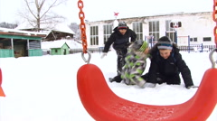 Elementary School Kids Playing on the School Yard. Winter Stock Footage