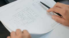 Checking of papers with construction documentation Stock Footage