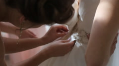Designer correct amazing dress before the wedding - stock footage