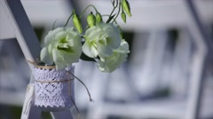 Flowers hanging in mason jar at wedding Stock Footage
