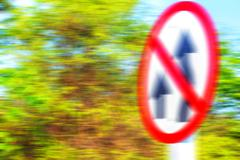 Traffic signs with blurred images. Stock Photos