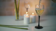 White wine pouring Stock Footage