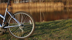 Two bicycles dolly shot Stock Footage