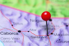 Santa Ana pinned on a map of Mexico - stock photo