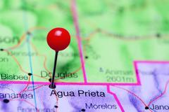 Agua Prieta pinned on a map of Mexico Stock Photos