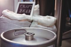 Close-up of keg with barley sack at brewery Kuvituskuvat