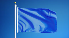 Light blue flag in slow motion seamlessly looped with alpha Stock Footage