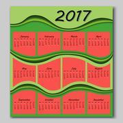 abstract waves calendar 2017 year - stock illustration