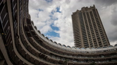 Time lapse: Brutalist architecture of the Barbican Estate, London, UK Stock Footage