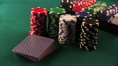 Poker Chips and Playing Cards on the Poker Table Stock Footage