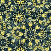 Ornate floral seamless texture, endless pattern with vintage mandala elements - stock illustration