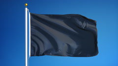 Dark black flag in slow motion seamlessly looped with alpha Stock Footage