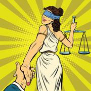 follow me, Themis leads to court - stock illustration
