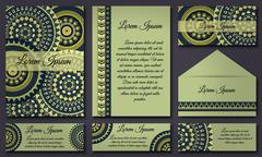 Invitation card collection. Vintage decorative elements. Hand drawn backgroun Stock Illustration