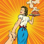 Follow me, the restaurant and delicious homemade food Stock Illustration