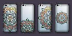Phone case mandala design set. Vintage decorative elements. Hand drawn backgr Stock Illustration
